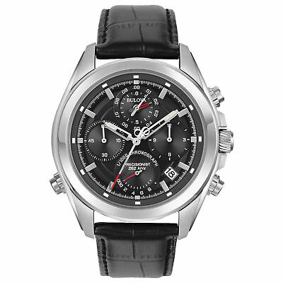 Bulova Precisionist 96B259 Men's  Quartz Chronograph Leather Strap 44.5mm Watch