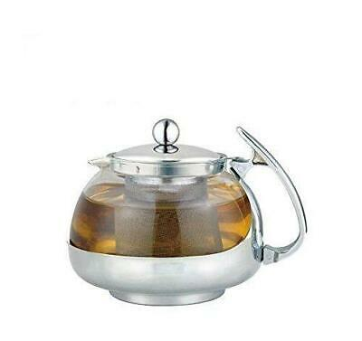 Heat Resistant Glass 3-Cup Tea Pot w/ Rust Free Infuser, 24 Fluid Ounces