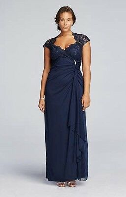Mother of the groom dress, long navy formal, floor length, plus size