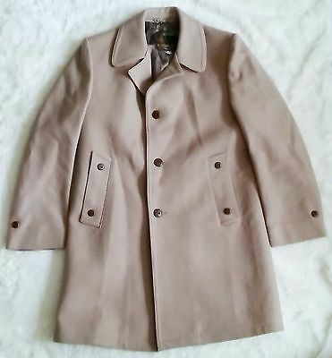 ANDERSON LITTLE • Mens Size 40 Wool Full Length Long Tan Trench Pea Coat Jacket