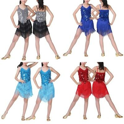 US Kids Girls Latin Dance Dress Sequins Raindrop Fringe Skirt Dress Dancewear