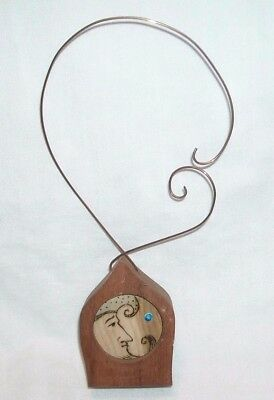 Wood & Copper Man In The Moon & Star Or Sun Ornament