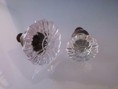 Antique 2 Glass Rosette Drawer Cabinet Knobs Pulls Handles