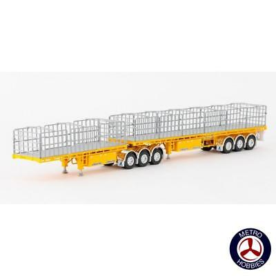 Drake Collectibles 1/50 Maxitrans Freighter B Double Set A & B Trailer Yellow DR