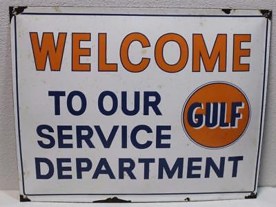 Porcelain Advertising Gulf Motor Oil Display Gas Station Sign Welcome