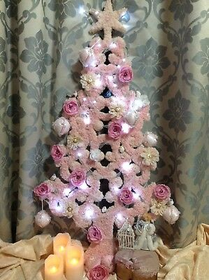 NEW One-of-a-Kind Shabby Chic Vintage Lace Handcrafted MDF Christmas Tree,