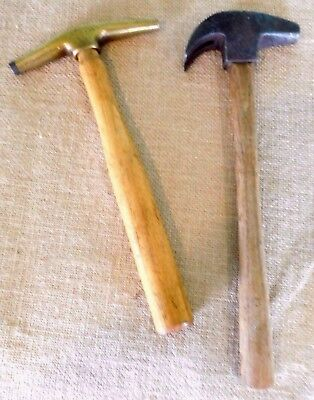 Vintage C. S. Osborne brass tack hammer & a forged Farrier's hammer. old  Fr /iw