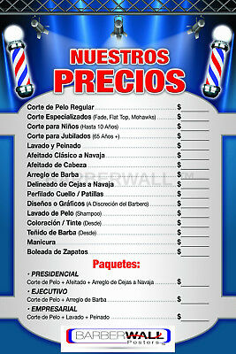 Barber Shop Price List in Spanish by Barberwall®,Barber Poster 24 x 36 Laminated
