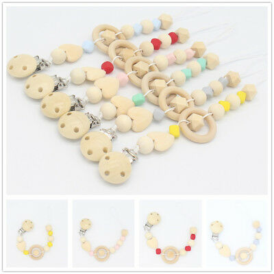 Pacifier Clip Chain Holder Baby Kids Wooden Beaded Nipple Teether Dummy Strap