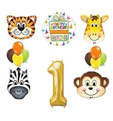d7434245cf6 Jungle Animal Safari First 1st Birthday Party Supplies and Balloon  Decorations