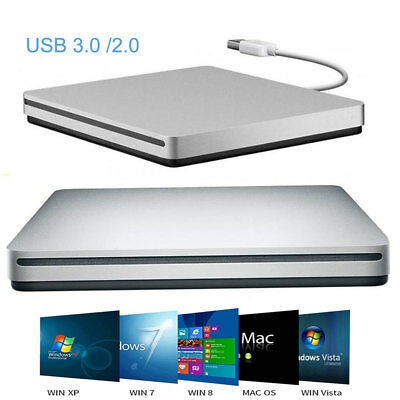 Externo USB 2.0 / 3.0 Delgado CD DVD ROM Disc Burner Box Player para PC Mac