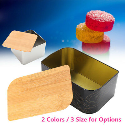3 Size Vintage Metal Candy Cookie Storage Bin Tea Container Box + Bamboo Lid