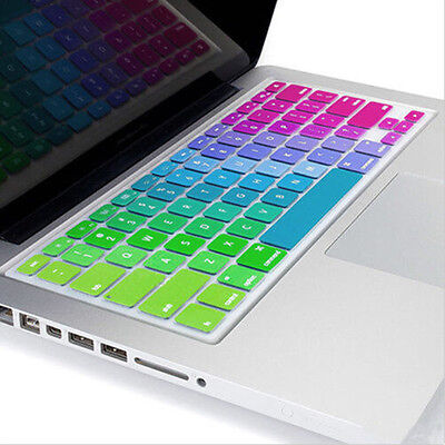 "Silicone Rainbow Keyboard Cover Skin for laptop Macbook Air Pro13""15""17"" Soft、UK"