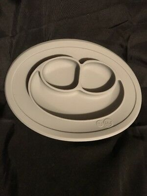 EZPZ Mini-Mat One Piece Silicone Child Placemat & Plate (Gray) EUC