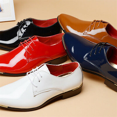 Mens Pointed Toe Patent Leather Dress Shoes Formal Smart Lace Up Shoes Size 6-10