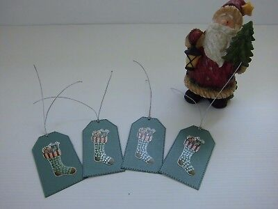 Handmade Christmas Gift Tags, Green, 4 tags with silver tie attached
