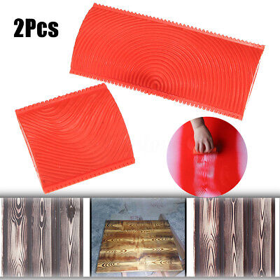 2pcs Wood Pattern Graining Grain Rubber Wall Paint Painting Tool Decoration DIY