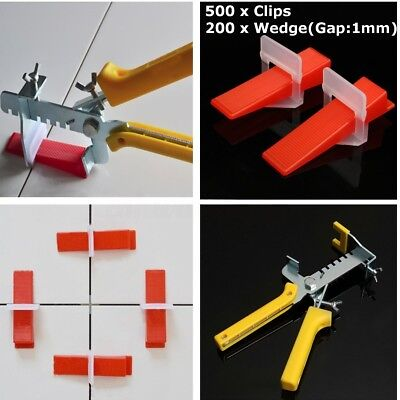 1000pcs Tile Leveling Spacer System Wedges & Clips & Pliers Tool Tiling Flooring