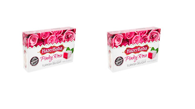 912582 2 x 250g BOXES OF HAZERBABA TURKISH DELIGHT PINKY ROSE FLAVOUR HANDMADE