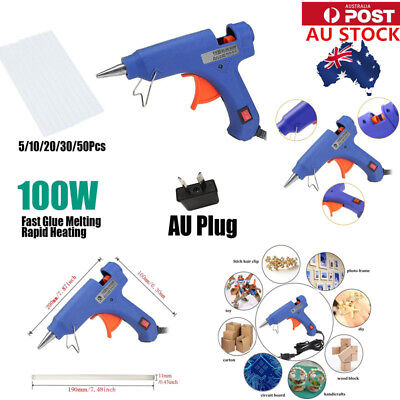 AU 100W Glue Gun Electric Heating Craft Hot Melt Glue Gun AU Plug+50 Glue Sticks