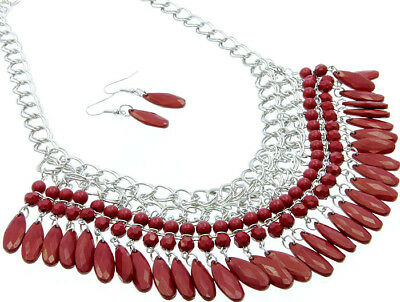 red bead drop necklace & earring set - costume jewellery