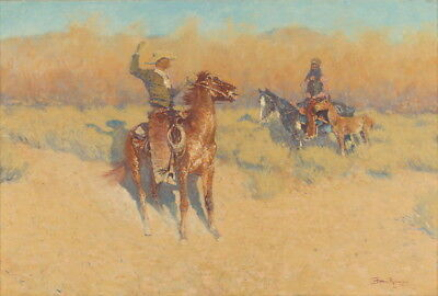Frederic Remington The Long-Horn Cattle Sign Giclee Canvas Print  Poster