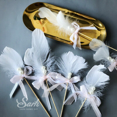 5Pcs Pink White Feather Pearl Bowknot Shape Cake Topper
