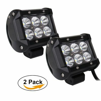 "Pair 4""Led 18W Flood Work Fog Light JEEP Wrangler JK TJ LJ 4WD 4X4 Toyota Ford"