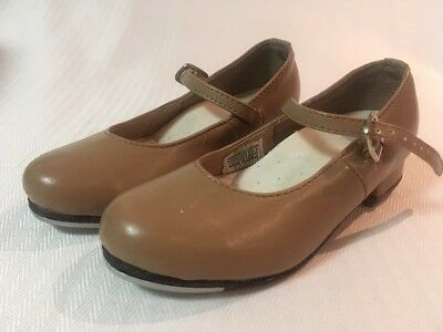 Energetics Girls Tan Leather Tap Shoes Size 9.5