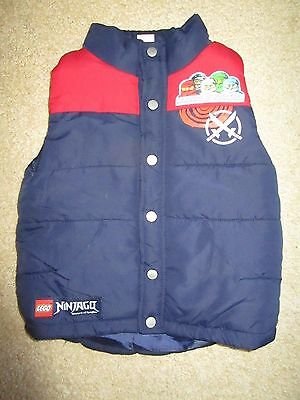 Boys Lego Ninjago navy puffer vest with red trim  Size 5