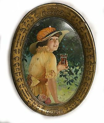 Antique Tin Tip Tray Lithographed Yellow Dress Coke Coca Cola Elaine 1916 RL-414
