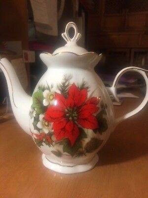 Poinsettia Collection,teapot, Fine China, Hand Painted< Never Used