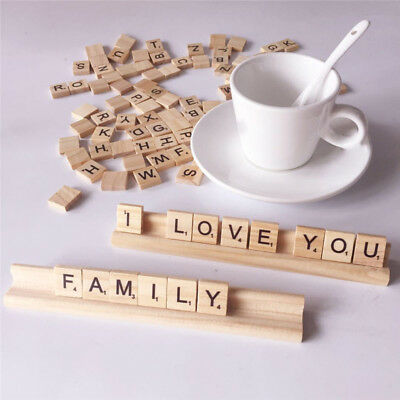 Wood Scrabble Tiles Alphabet Letters Crafts Stand Rules For Mini Puzzle Blocks