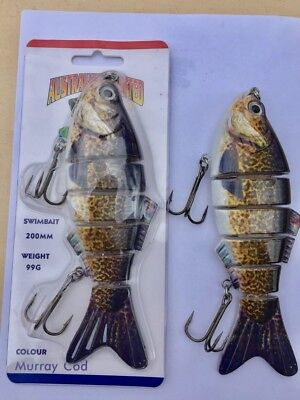 "Ac Lures 8"" 200mm Swimbaits Murray Cod Jointed Lure Aussie Designed 99grams"