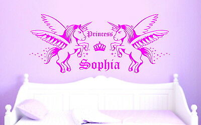 Unicorn Personalised Name Stars Princess Girls Decor Vinyl Wall Sticker Decal