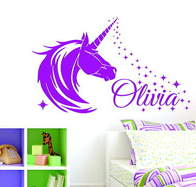 Unicorn & Stars Personalised Name Girls Bedroom Decor Vinyl Wall Sticker Decal