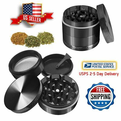 Black 4 Piece Layers Metal Tobacco Crusher Hand Muller Smoke Herbal Herb Grinder