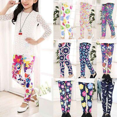 Baby Kids Girls Leggings Floral Printed Long Pants Trousers For Child 1-12Y Girl