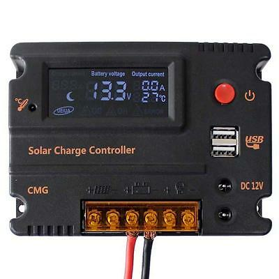 20A PWM Dual USB Solar Laderegler Solarregler 12V 24V Batterie Regulator BP