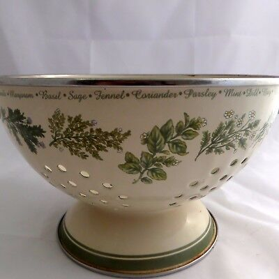 Corelle Thymeless Herbs Metal Colander 3 Quart With Handles