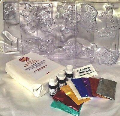 CHRISTMAS Soap Making KIT 1KG melt & Pour CLEAR, 5 milky way moulds, 8 Shimme