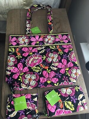 New Vera Bradley Pirouette Pink Tote Accordian And Euro Wallets 3 Piece Lot Nwt