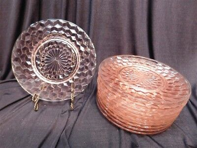"""11 Jeanette Pink Depression Glass Cube 8"""" Luncheon or Dessert Plates"""