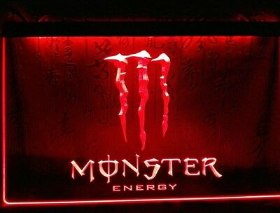 Sign Led Neon Enseigne MONSTER ENERGY 7 Colors 3 Size