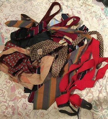 Lot Of 14 Vintage Silk wool cotton Ties 40s 50s 60s 70s Rockabilly Dapper Cravat