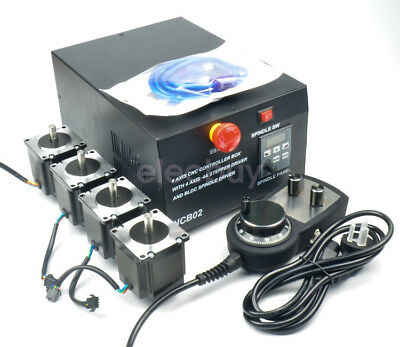 4 Axis CNC Controller Box Stepper Driver BLDC Spindle Driver + Handwheel + Motor