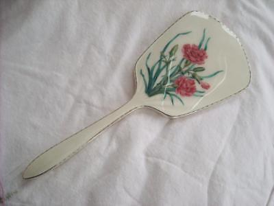 Vintage Guilloche Enamel Sterling Silver Hand Mirror Walker & Hall 1958