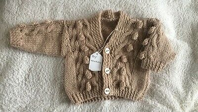 newborn Boys Knitted Cardigan In Oatmeal .. Brand New