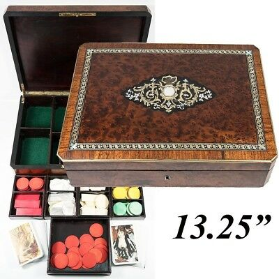 """Antique French Game or Cards & Gaming Chips Set, Napoleon III Boulle Box, 13.5"""""""