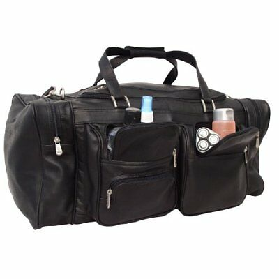 Piel Leather 24In Duffel with Pockets, Black, One Size, New